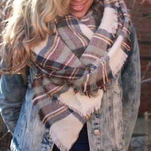 Accessories - Lightweight Plaid blanket scarf